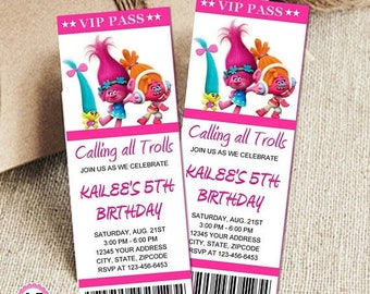 60% OFF Trolls DJ Suki personalized birthday invitation, VIP pass, Ticket  3 per page, Trolls birthday party invitation, trolls birthday, pr