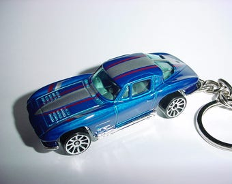New 3D 1963 Chevrolet Corvette Custom Keychain keyring key chain by Brian Thornton finished in blue/silver color trim 63