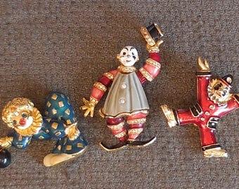 3 Wonderful CLOWN Vintage Figural BROOCHES...Mid Century CIRCUS Jewellery...Enamel & Rhinestone Clown...Carnival Comedy Clowns!