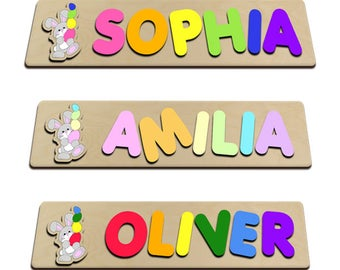 Easter Bunny Wooden Name Puzzle Easter Gift, Personalized Toy, Baby Name Gift, Keepsake Toy, Custom Made 590450217