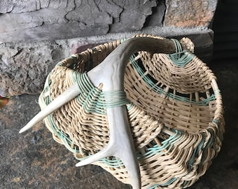 Gorgeous Rustic Antler Basket Cabin Lodge Decor Egg Buttocks Style