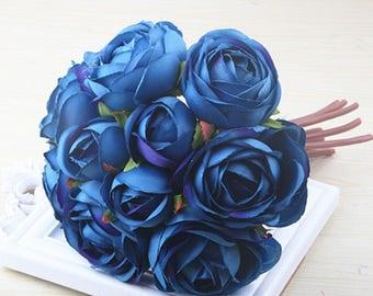 Blue Bridesmaids Bouquet, Navy Centerpiece Flowers, Artificial Silk flowers 1 bunch