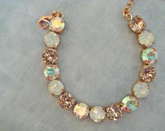 Swarovski Rose Gold Blush Opal Bridal Bracelet, 8mm Tennis Bracelet, bridesmaid bracelet, blush bracelet, bridesmaid gift, vintage rose