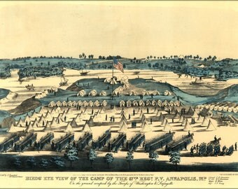 Poster, Many Sizes Available; Birdseye Map 67Th Reg'T Annapolis, Maryland  1861