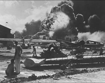 Poster, Many Sizes Available; Naval Air Station At Pearl Harbor Following Japanese Attack