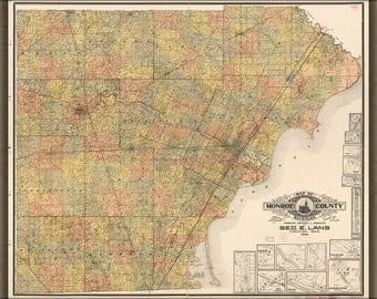 Poster, Many Sizes Available; Map Of Monroe County, Michigan 1901