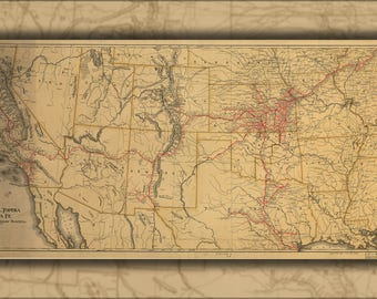 Topeka Map Poster Etsy - Atchinson topeka and santa ferailroad on the us map