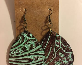 Embossed mint and brown Earrings