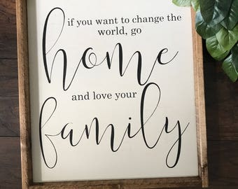 Mother Teresa Quote - If You Want To Bring Happiness - Wood Sign - Family Quote Sign - Farmhouse Decor