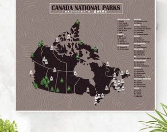 Canada National Parks explorers map; checklist; bucketlist