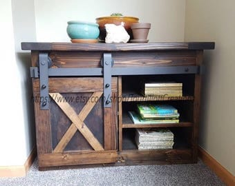 Night Stand, Tv console, end table, barn door, rustic