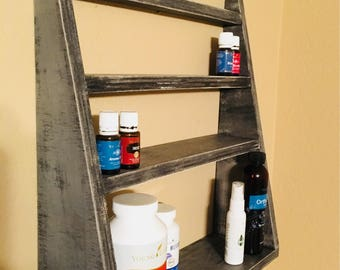 Essential Oil Shelf Angled design, storage, make up, decor, rustic, distressed, floating, bathroom, bedroom