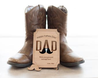 Wood Father's Day Postcard - Personalized gift-Wooden Letter-Gift For Him- Mustache Postcard - By Urban Forest Woodworking