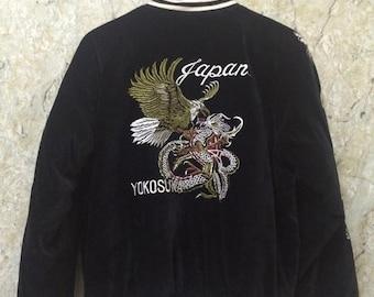 Birthday Sale Vintage Embroidered Japanese Souvenirs Sukajan Jacket, Velvet, Yakuza, Yokosuka, Dragon Fight, Size L Rare