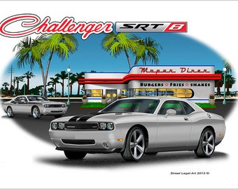 SRT8 Gray Dodge Challenger custom Image T-shirt
