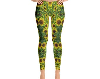 Sunflower Field Womens Leggings- Festival Leggings- Sunflower Pants- Psychedelic Leggings- Hippie Leggings- Nature Leggings- Flower Pants