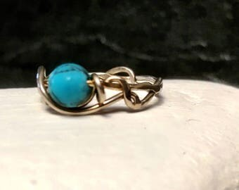 Handcrafted silver and matt turquoise ring