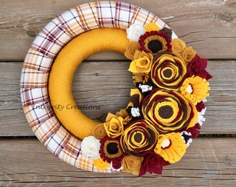 Fall Autumn Double Fabric and Yarn Wrapped Wreath
