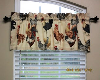 Roosters/Chickens Valance / Custom Boutique Window Curtain Valance / Kitchen, Bath, Bedroom, Nursery Window Treatment