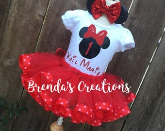 Red Minnie mouse outfit - Minnie Mouse Birthday Outfit - Minnie Mouse dress - Minnie Mouse Birthday tutu