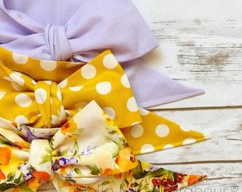 Gorgeous Wrap Trio (3 Gorgeous Wraps)- Lavender, Dottie Mustard & Mustard Floral Gorgeous Wraps; headwraps; fabric head wraps; headbands