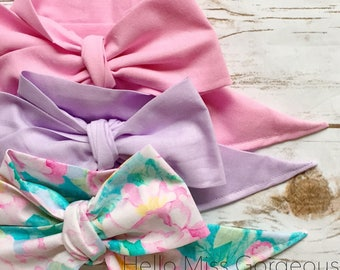 Gorgeous Wrap Trio (3 Gorgeous Wraps)- Ballet Pink, Lavender & Petal Pink Floral Gorgeous Wraps; headwraps; fabric head wraps; bows