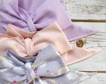 Gorgeous Wrap Trio (3 Gorgeous Wraps)- Lavender, Pink Sugar & Rainbow Gorgeous Wraps; headwraps; fabric head wraps; bows