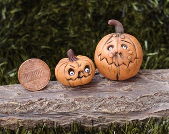 2 piece. Halloween. Miniature pumpkin. Dollhouse witches . Pumpkin Eye for witch house. scale 1/12