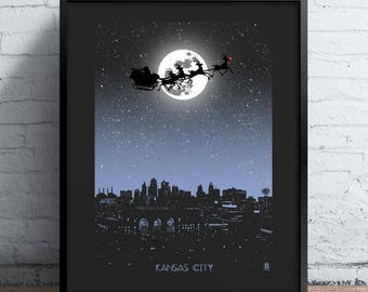 Kansas City Holiday Moon Print
