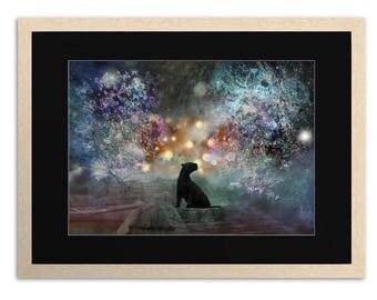 Vision Quest, Spiritual, Art Print, Poster, Wall Art, Room Decor, black Jaguar, Panther, Butterflies, Psychedelic, Visions, Dreams