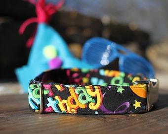 Happy Birthday Dog Collar, Dog Collar, Female Dog Collar, Male Dog Collar, Metal Buckle, Large Dog Collar, Small Dog Collar, Fabric Collar
