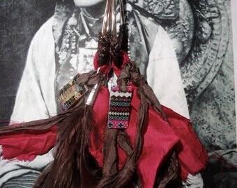 "Silver hoop ""LES NAVAJO"" mother of Pearl, resin, feathers, silk sari Ribbon"