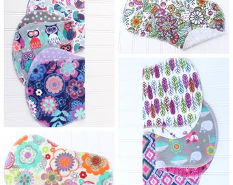 You Pick - Set of 3 - Over 50 Patterns to Pick From - Baby Girl Burp Cloths - Baby Shower Gift - Baby Gift
