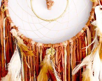 "Autumn Leaves Brown Dreamcatcher ~ 12"" Aragonite ~ Christmas Gift ~ Autumn Decor"
