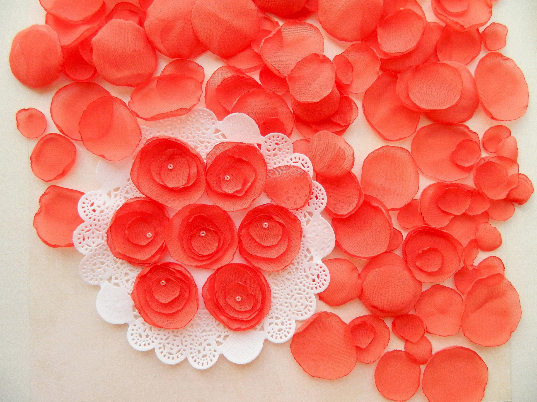 orange handmade wedding decor rose petals flower girl petals scatter