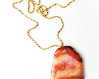 Red orange agate quartz druzy pendant necklace unique locket gold color chain gift for her for Mom gemstone jewelry boho agate slice yellow