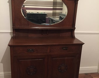 Arts And Craft Oak Mirror Back Sideboard In Good Used Condition