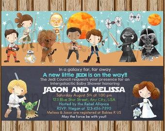 "Star Wars Baby Shower Invitation- Jedi Baby Shower Invitation- Boys Baby Shower- Twins Baby Shower- Star Wars New Baby Invite- 5"" x 7"" size"