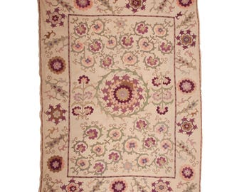 5'6'' x 7'5'' Antique Suzani, wall hanging, cover, from Bukhara , Uzbekistan, Ships free with ups