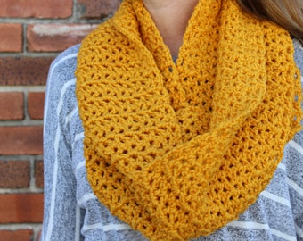 Large Golden Yellow Infinity Scarf