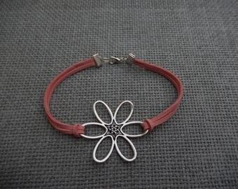 Pink suede flower bracelet