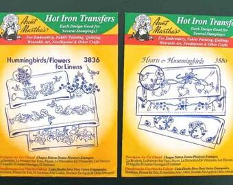 2 Aunt Martha's Hot Iron Transfers Hummingbirds and Hearts and Hummingbirds