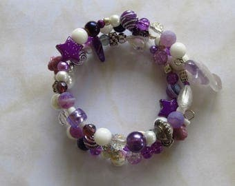 Purple memory wired bracelet- various shades of purple- hand made- Boho style-gift for her-Merlins Colours-amethyst Angel-- MBCS/15