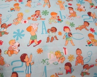 Alexander Henry Baby Boy Fabric Light Blue  Background By the Half Yard  Sweet Images Out of Print RARE