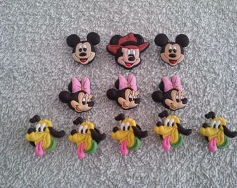 Lot 11 jibbitz Mickey - Minnie (badges for fangs)
