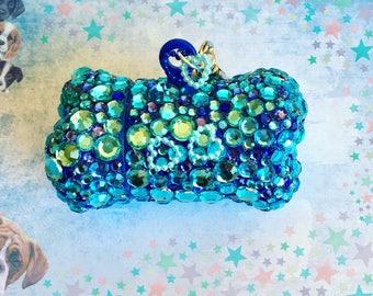 BLUE DOG bag HOLDER, dog accessories, dog bone, puppy accesories, dog bag carriers, dog collar, bags bone holder, dog bag dispenser, luxe