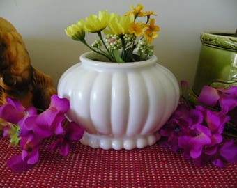 White Milk Glass Planter Vase Ribbed Oval With Hobnail Base - Bouquet, Centerpiece, Wedding