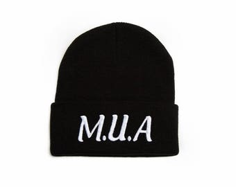 MUA Beanie, MUA Hat, Makeup Artist Hat, Embroidered Beanie, Beanies with Words