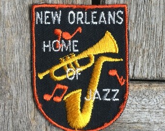 New Orleans Home of Jazz Vintage Souvenir Travel Patch from Voyager - New In Original Package