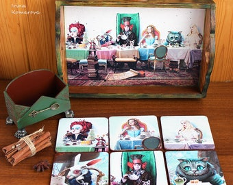 Alice in wonderland, mad tea party set, wooden coasters, serving tray